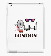 London w/London Eye, Tower Bridge, Phone Booth and Double Decker Bus iPad Case/Skin