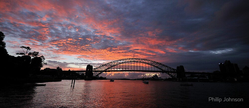 Blood Morn - Moods Of A City -Sydney Harbour by Philip Johnson