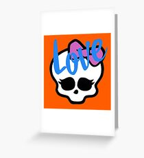 Love Sucks Pop Art Girl Skull w/ Ribbon (Love) Greeting Card