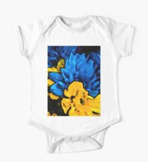 Yellow Flower and Blue Flowers One Piece - Short Sleeve