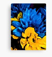 Yellow Flower and Blue Flowers Canvas Print