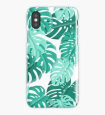 Tropical Green Monstera Print  iPhone Case