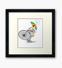Penny Farthing Bicycle pug with umbrella and Donut. Framed Print