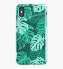 Tropical Dark Green Monstera Print  iPhone Case