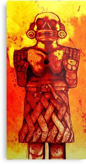 Coatlicue - Aztec goddess, The mythological mother of the moon and stars   by PeterAndrew