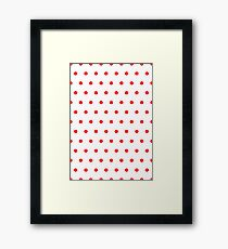 Polka / Dots - White / Red - Small Framed Print