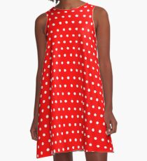 Polka / Dots - Red / White - Small A-Line Dress