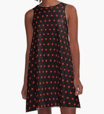 Polka / Dots - Red / Black - Small A-Line Dress