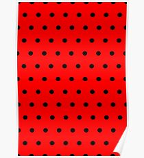 Polka / Dots - Black / Red - Small Poster