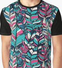 Colorful Feather Illustrations Blue, Pink & Turquoise Graphic T-Shirt