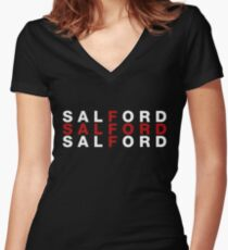 Salford United Kingdom Flag Shirt - Salford T-Shirt Women's Fitted V-Neck T-Shirt