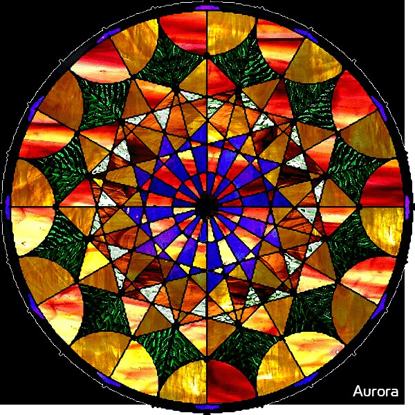 Round gothic style mock stained glass  by Aurora