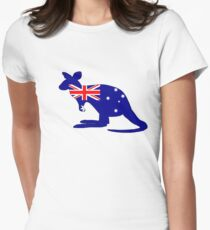 Australian Flag - Kangaroo Womens Fitted T-Shirt