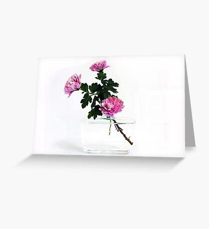 Unusual Reused Plastic Vase with Chrysanthemum Greeting Card