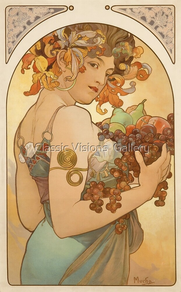 'Fruit' by Alphonse Mucha (Reproduction) by Roz Abellera
