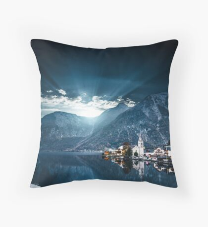 hallstatt in austrian alps Throw Pillow