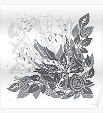 gray grunge roses Poster