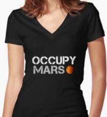 elon musk occupy mars Women's Fitted V-Neck T-Shirt