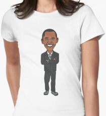 Barack Obama T-Shirt - Cartoon Barack Obama Women's Fitted T-Shirt