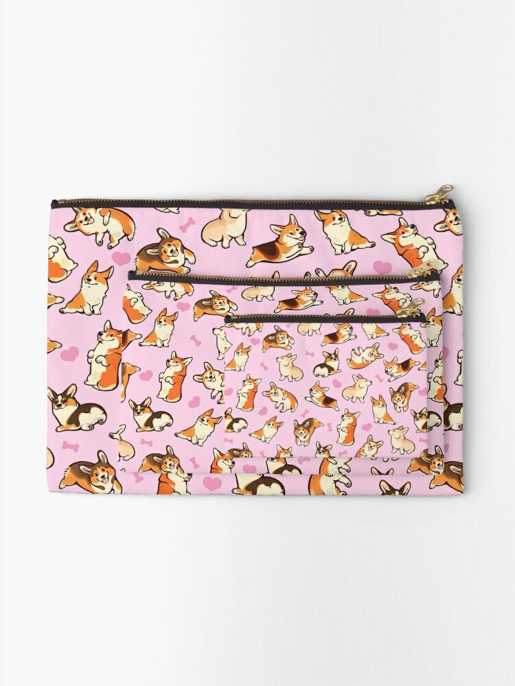 Alternate view of Lovey corgis in pink Zipper Pouch
