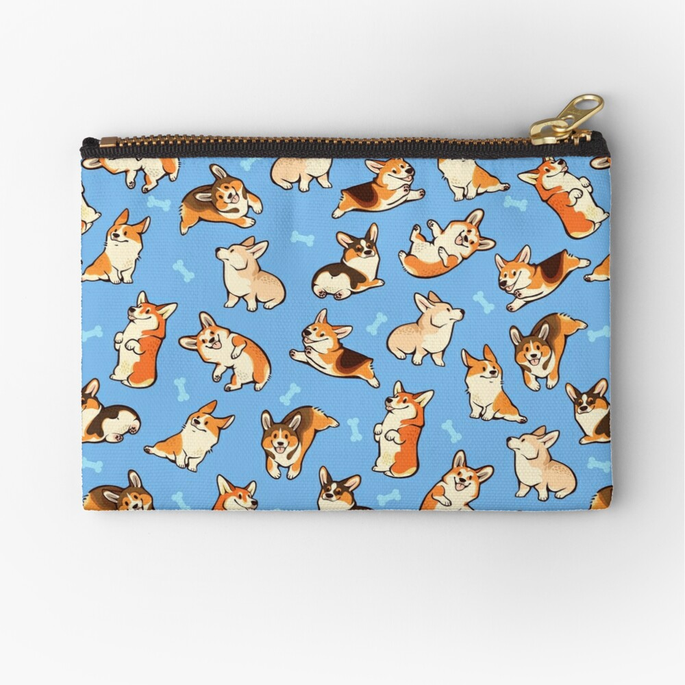 Jolly corgis in blue Zipper Pouch