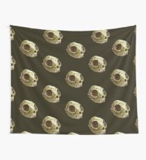 cat skull decorated with wasabi flowers Wall Tapestry