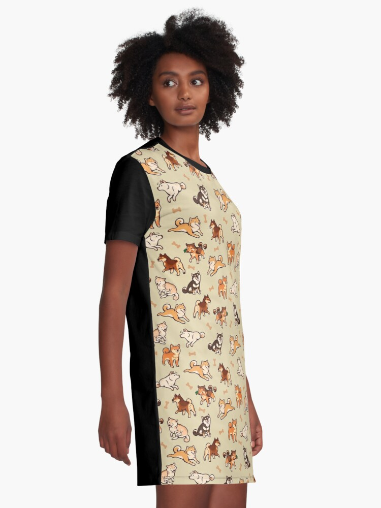 Alternate view of shibes in cream Graphic T-Shirt Dress