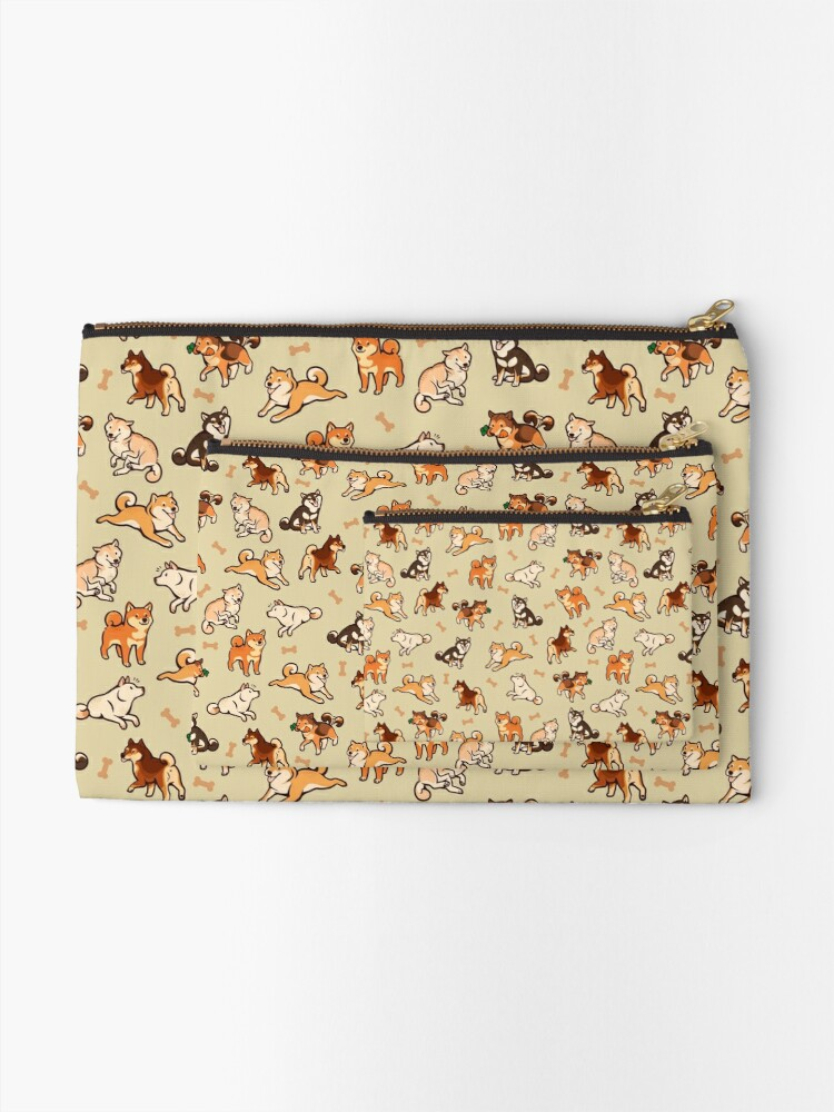 Alternate view of shibes in cream Zipper Pouch