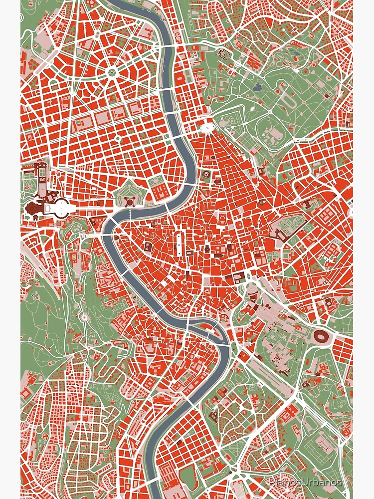 Rome city map classic | Metal Print