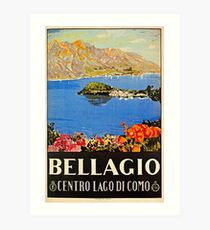 Italy Bellagio Lake Como vintage Italian travel advert Art Print