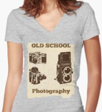 Old School Photography Design Women's Fitted V-Neck T-Shirt