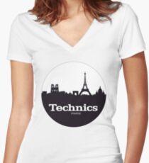 Technics Paris Women's Fitted V-Neck T-Shirt