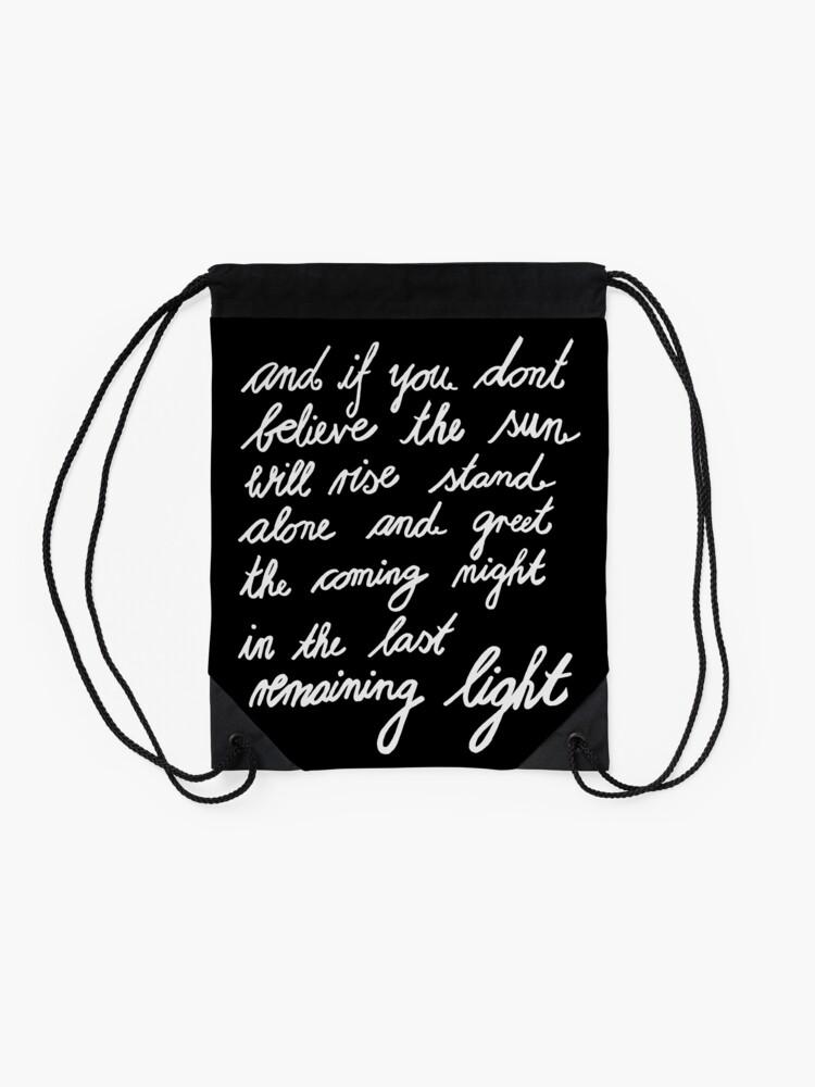 Alternate view of The Last Remaining Light (Chris Cornell inspired) Drawstring Bag