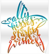 Salty Kisses & Starfish Wishes Hand Lettering Design Poster
