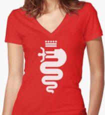 Alfa Romeo biscione (white) Women's Fitted V-Neck T-Shirt