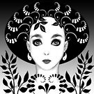 Black and white floral art deco face von Britta Glodde