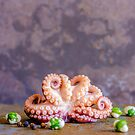 Still life with Octopuppy and wasabi peas. by alan shapiro
