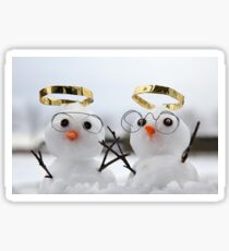 Two cute snowman angles with golden halos Sticker
