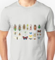 The Usual Suspects - Insects on grey - watercolour bugs pattern by Cecca Designs Unisex T-Shirt