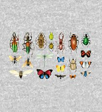 The Usual Suspects - Insects on grey - watercolour bugs pattern by Cecca Designs Kids Pullover Hoodie