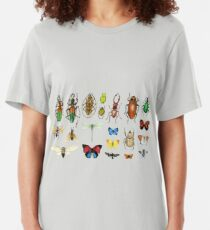 The Usual Suspects - Insects on grey - watercolour bugs pattern by Cecca Designs Slim Fit T-Shirt