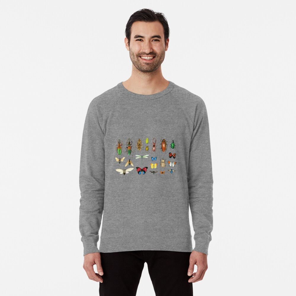 The Usual Suspects - Insects on grey - watercolour bugs pattern by Cecca Designs Lightweight Sweatshirt