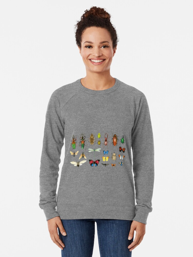 Alternate view of The Usual Suspects - Insects on grey - watercolour bugs pattern by Cecca Designs Lightweight Sweatshirt