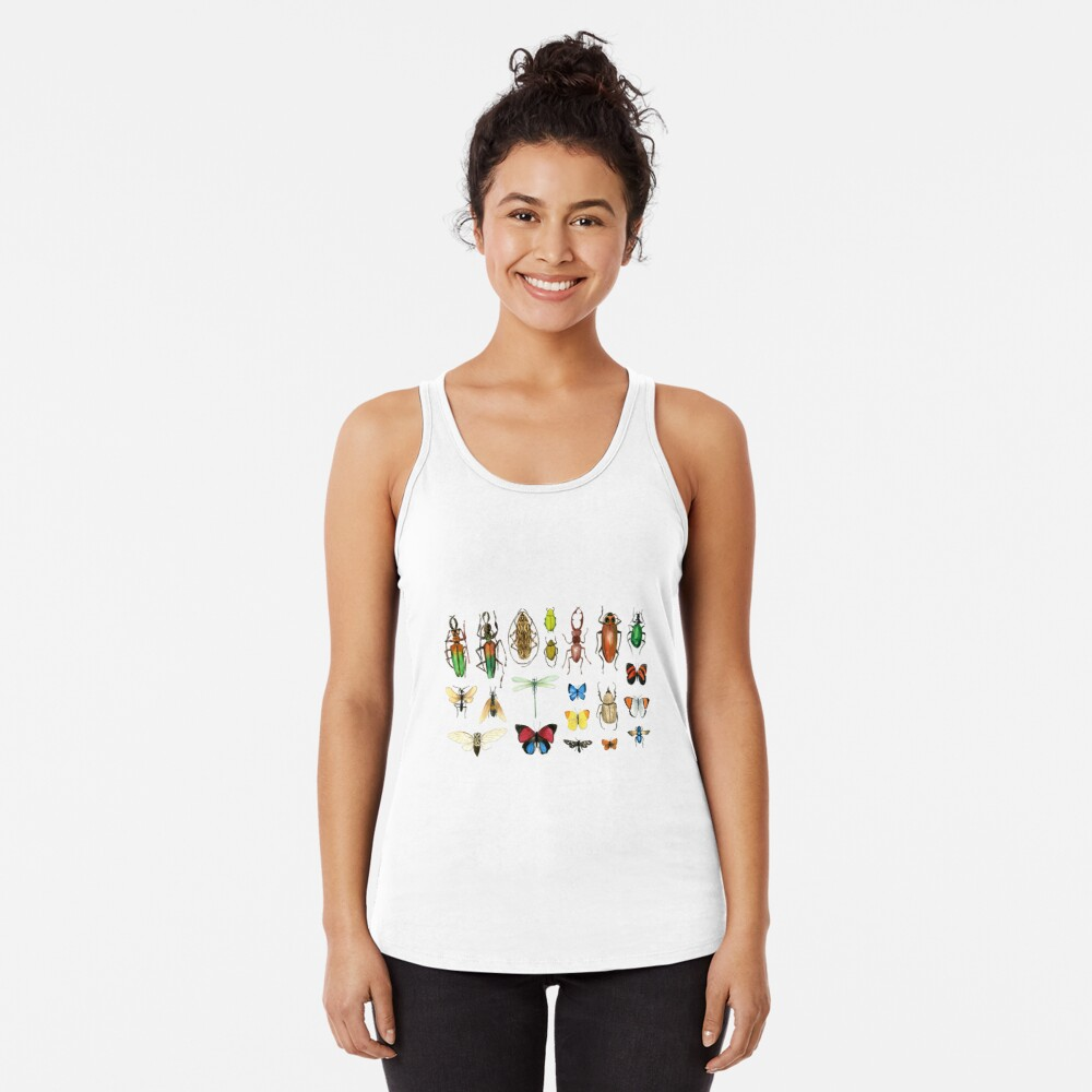 The Usual Suspects - Insects on grey - watercolour bugs pattern by Cecca Designs Racerback Tank Top