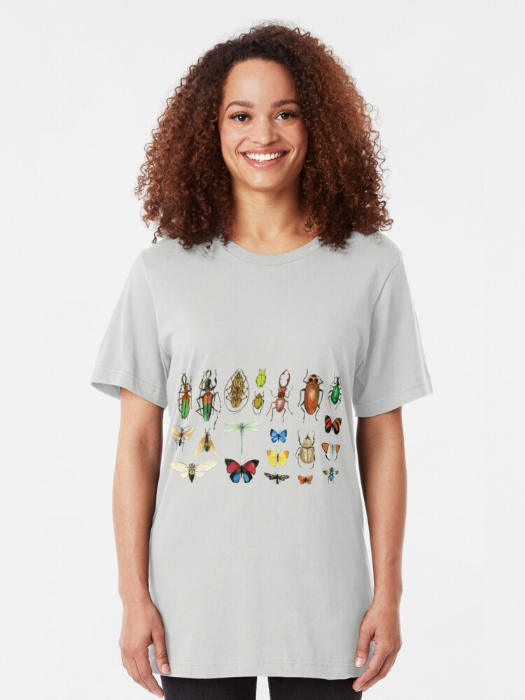 Alternate view of The Usual Suspects - Insects on grey - watercolour bugs pattern by Cecca Designs Slim Fit T-Shirt