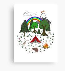 New Zealand Camping Scene with Kiwi Canvas Print
