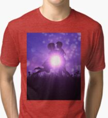 Couple silhouette on grass field Tri-blend T-Shirt