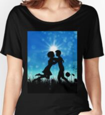 Couple silhouette on grass field 3 Women's Relaxed Fit T-Shirt