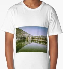 first snow at the mountain lake Long T-Shirt