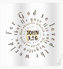 John 3.16 Bible Verse Circle Typography Poster